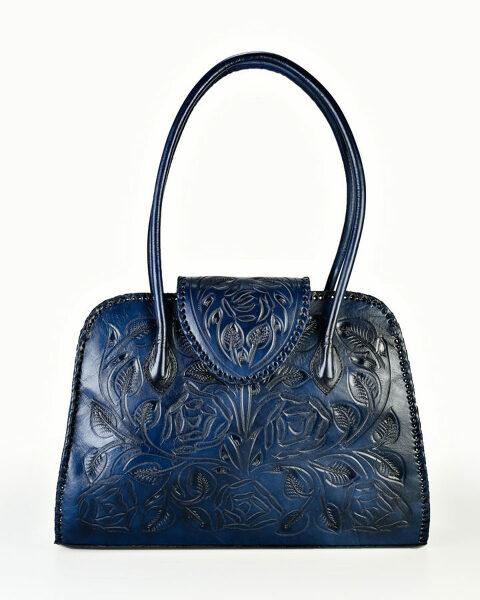 carved blue handbag