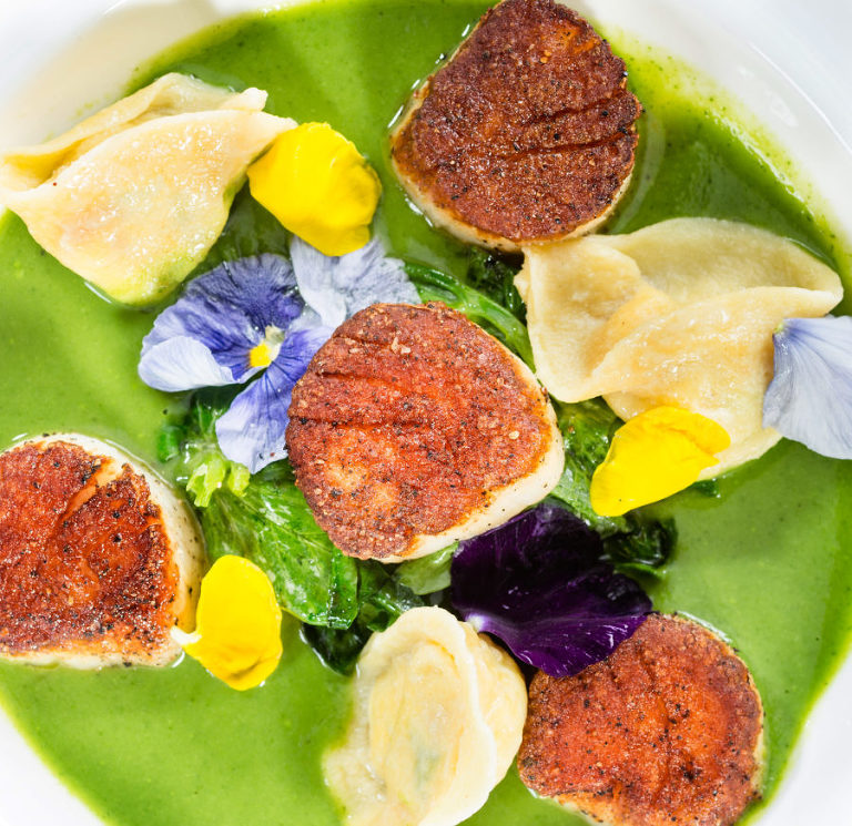 Diver's scallops and dumplings by Jeff Behm Photography