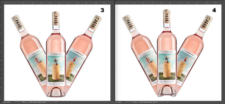 Three Rosé wines in unusual arrangements