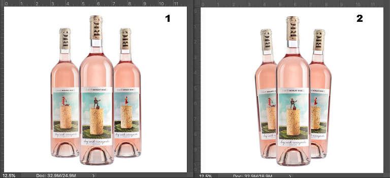 Three Rosé wines in conventional arrangements, on white
